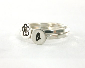 Silver Stack Rings, Initial Stack Rings, Flower Ring, Sterling Rings, Hammered Rings