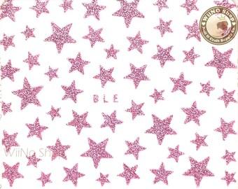 Pink Glitter Star Adhesive Nail Sticker Nail Art - 1 pc (BLE-P)