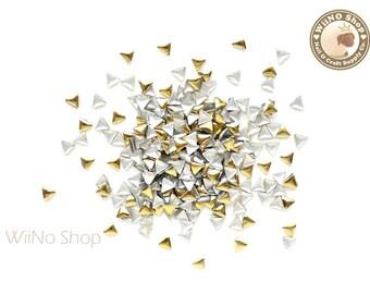 3mm Gold Triangle Metal Studs Flat Back Nail Art - 100 pcs