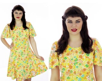 60s Babydoll Dress Flutter Sleeves Yellow Floral Dolly Mod Circle Skirt  Cotton Lightweight 1960s 1970s Vintage Large L