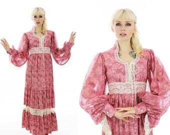 Gunne Sax Style Dress Pink Victorian Wedding Vintage 60s 70s Angel Wings Empire Waist Prairie Peasant Medieval Hippie Boho Festival 1960s M