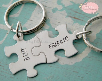 Personalized Hand Stamped Puzzle Pieces Best Friends Keychain / Key Chain Set Pair