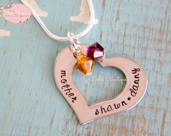 Heart Washer Necklace with Swarovski Birth Stones - Personalized Hand Stamped