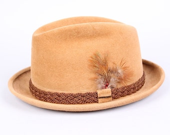 vintage 1950s Stetson brown fur felt fedora hat with feather tan braided band size 7 1/2 mad men mid century modern wedding prom party