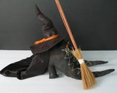 Primitive Halloween Witch Boots, Hat, Broom Decoration Melted Witch Display Kit