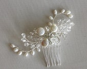 Wedding Hair comb, Rhinestone Freshwater Pearl Hair Comb, Bridal Hair Accessory
