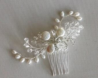 Wedding Hair comb, Rhinestone Freshwater Pearl Hair Comb, Bridal Hair Accessory