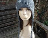 SNOW FLURRY pompom alpaca blend grey gray white ear flap ski hat by irish granny M L