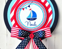 Nautical Cake Topper, Nautical Birthday Party, Nautical Topper  in Navy Blue, Light Blue and Red