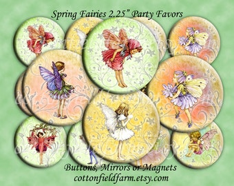 Spring Fairies 2.25 Inch Buttons, Mirrors, or Magnets for Party favors, Birthdays, Showers  Set of 12