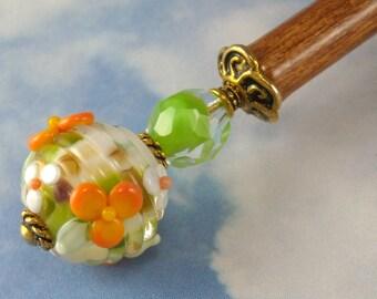 Hairstick Orange Blossom In Artisan Glass