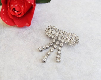 Vintage Rhinestone Bow Brooch with Tassels Vintage Silver Tone Pin.