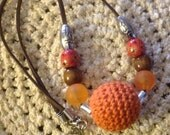 Crochet Bead Necklace/  Chunky / orange and brown