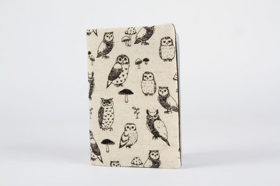 Fabric card holder - Realistic owls / Japanese fabric / Hoot / Fall woodland / Natural linen black dark grey charcoal / mushrooms / rustic