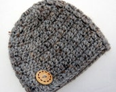 Grey Tweed Baby hat for boy natural tweed gray with wood button accent  crochet newborn 0-3 month photo prop