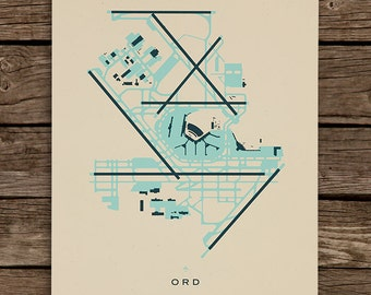 ORD (O'Hare International Airport) Screenprinted Poster