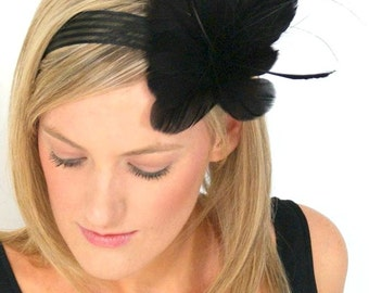 Black fascinator flower headband feather flower hairpiece headband lace and feathers ribbon hairpiece- Fancy Dress Hairpiece
