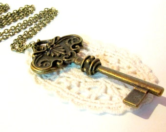Large key pendant- lace pendant-bronze key pendant- key necklace-Secret Garden Pendant Necklace