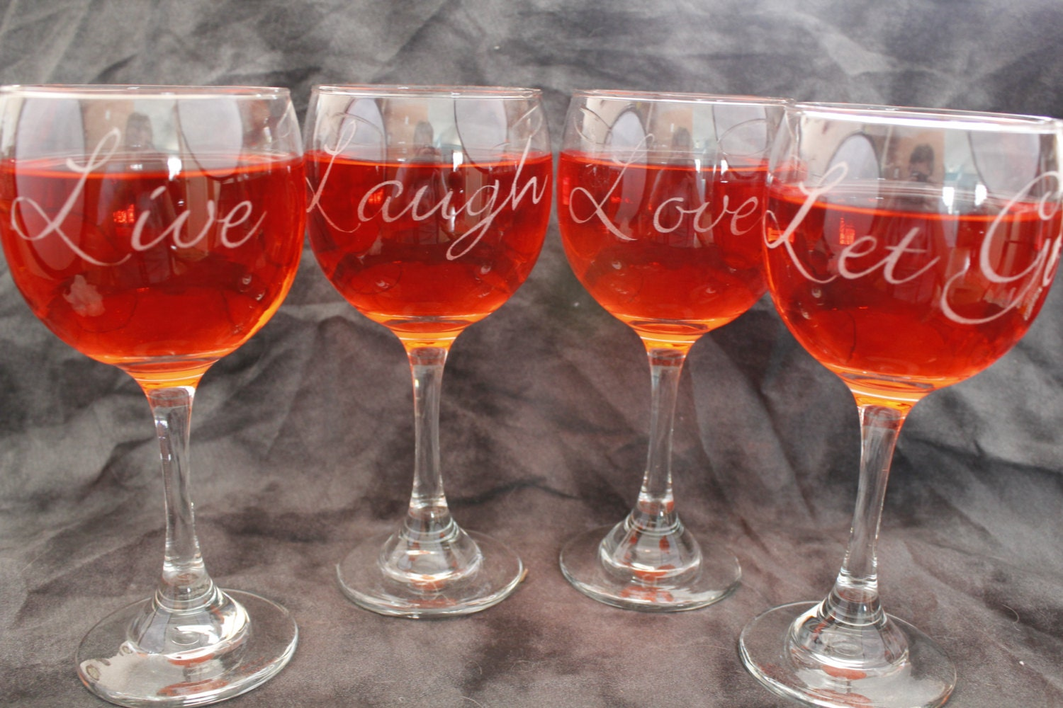 Live laugh love let go etched red wine glasses set of 4 Wine glasses to go