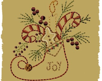 Primitive Machine Embroidery Design-Joy Stocking ~ Version 2--(4x4)-INSTANT DOWNLOAD