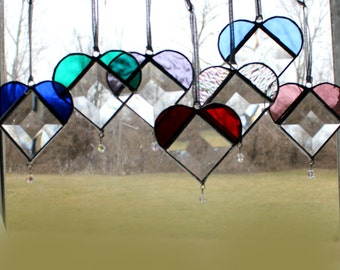 Three Beveled Stained Glass Hearts - Crystal Drop - teacher Gifts -Sun Catcher -  Home Decor