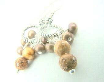 Brown dangle earrings, brown pearls, agate gemstones, pearl dangle earrings