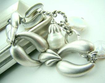 Chunky silver link bracelet, pearl charm bracelet, vintage silver chain bracelet