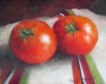 Two Red Tomatoes,Still Life Wall Art, Kitchen Art, Canvas Oil Painting 8x10 Original by Cheri Wollenberg