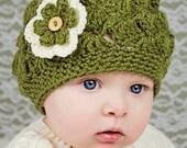 Baby Girl  Newborn - 6-9 Months Sizes  crochet Shell Pattern Meadow Green Spring Hat Summer Hat Flower Beanie Hat Photo Prop Hat