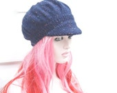 Knitted Newsboy Hat  Baker Boy Womens  Peaked Winter Hat Navy Fleck