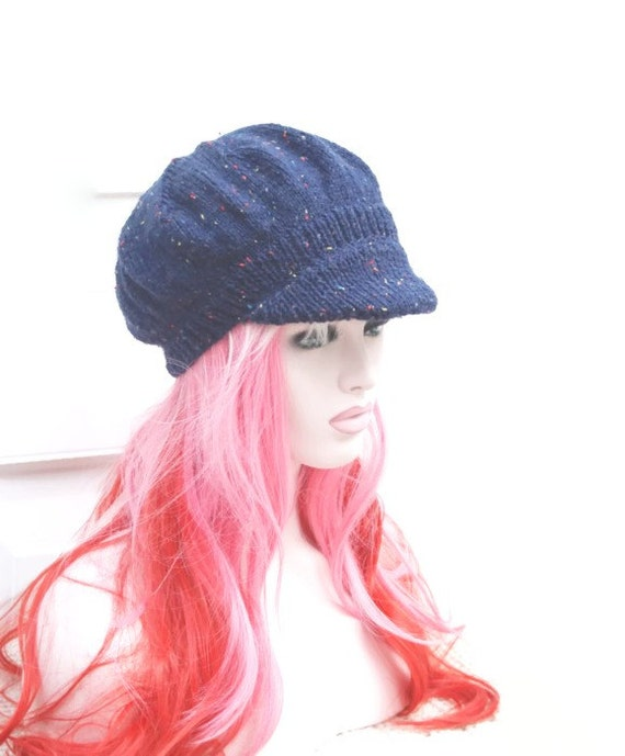 knitted newsboy hat baker boy womens peaked winter hat navy