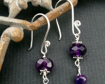 Black Grape Earrings, Amethyst Earrings, Dark Purple Earrings, Purple Earrings