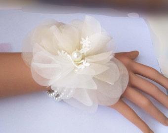 silk flower wrist corsage ivory or custom color