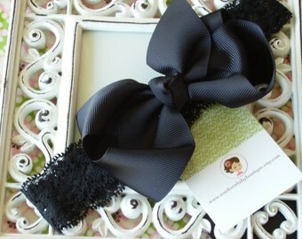 NEW ITEM----Boutique Baby Toddler Girl Hair Bow Clip with Lace Headband----BLACK----