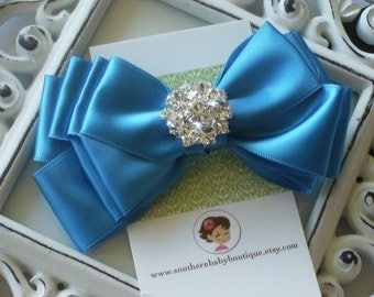 INVENTORY BLOWOUT SALE----Boutique Triple Layered Satin Hair Bow Clip with Rhinestones-----Electric Blue----
