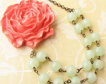 Statement Necklace Flower Necklace Mint Jewelry Coral Necklace Bridesmaid Gift Bib Necklace