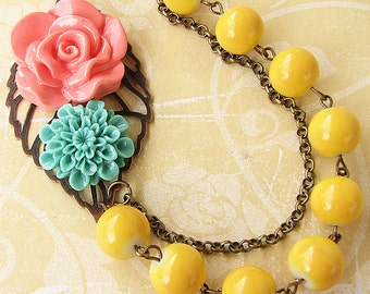Statement Necklace Bridesmaid Jewelry Flower Necklace Bib Necklace Yellow Jewelry Coral Necklace Gift For Her