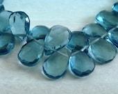 3 MATCHED PAIRS, London Blue Quartz Pear Faceted Briolette Beads, 7-8MM,  Wholesale Beads, Brides, 6 pcs  Gorgeous Color