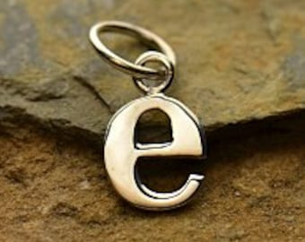 "Sterling Silver, Letter ""E"" Typewriter Lowercase Charm, 925 Alphabet Charms, 1 PC, 16x8x1mm"