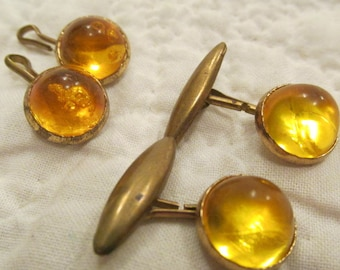 Antique Cuff Links with Glass Cabochons SALE