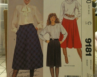 Basic Skirts Inverted Pleat Full Circle Bias pick size 12 or 14 McCalls 9181