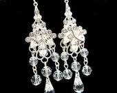 Bridal chandelier earrings, wedding jewelry, sterling silver, Swarovski crystals earrings, vintage style, wedding earrings