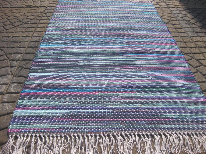 Handwoven navy teal fushia purple rag rug 25 x 37 m for Navy and teal rug