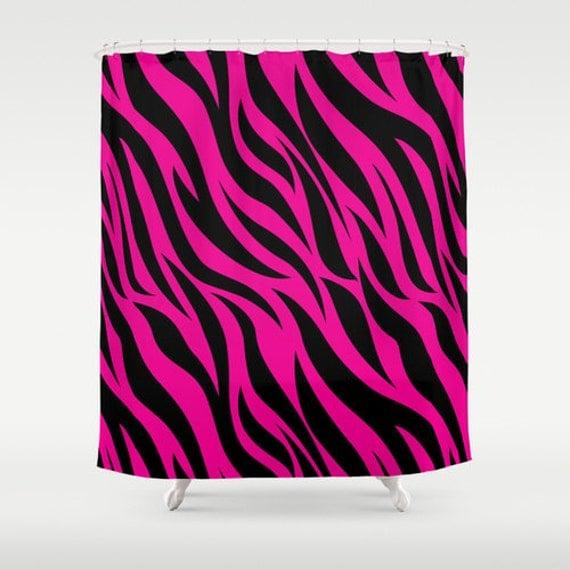 Items Similar To Hot Pink Zebra Print Shower Curtain
