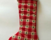 """Country Plaid with Little Trees~ Christmas Stocking with Cuff ~ Handcrafted ~ Padded 20"""" ~ Red and Cream Print Cotton Fabric"""