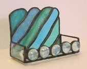 Stained Glass Business Card Holder - Blue and Green Waves