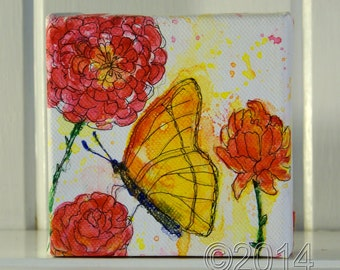 Butterfly Garden, Original Mixed Media Painting