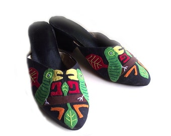 Parrot Shoes Mules / Vintage 80s Costume Prop
