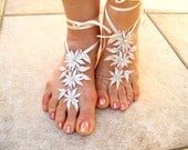 Bridal Accessories,Fabric Flowers  Barefoot Sandals, Beach, Pool Sandals , Wedding Gloves