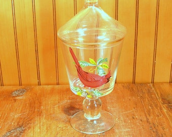 Covered Glass Jar With Cardinal Design